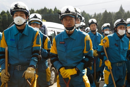 KUMAMOTO, JAPAN - APRIL 17: Rescue teams prepare to search for survivors on April 17, 2016 in Kumamoto, Japan. A magnitude-7.3 earthquake hit Kumamoto prefecture on Japan's Kyushu Island on Saturday after one measuring 6.4 struck on Thursday. As of Sunday, reports indicate that 42 people have been killed, 1,500 were injured, and 11 people remain missing. An estimated 80,000 homes are without power and 400,000 homes have no running water. (Photo by Taro Karibe/Getty Images)