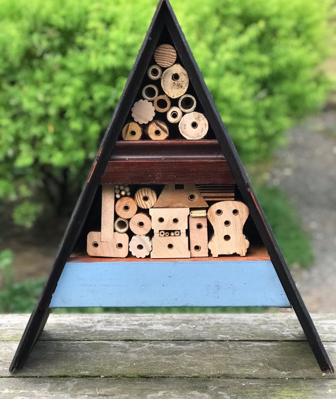 Mason bee house made with found wood